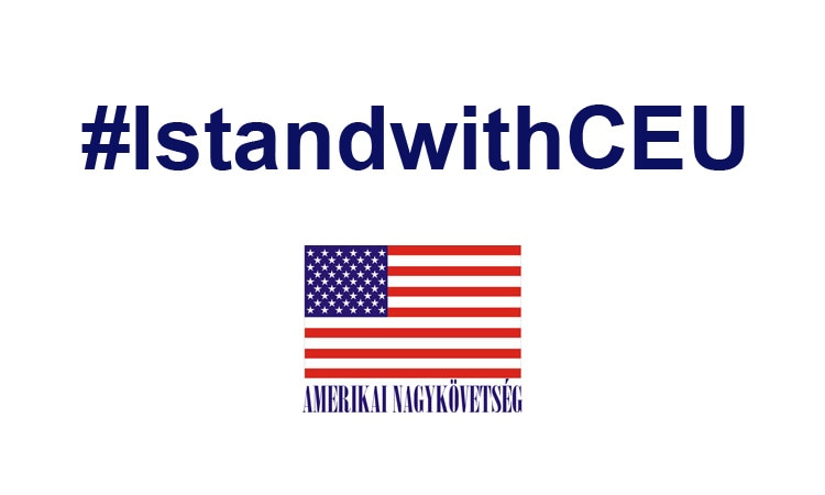 Követségi logóval ellátott infografika a CEU-t támogató hashtaggel
