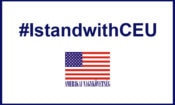 #IstandwithCEU with the Embassy logo