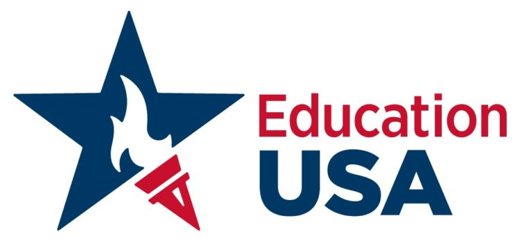 red torch in front of blue star, EducationUSA