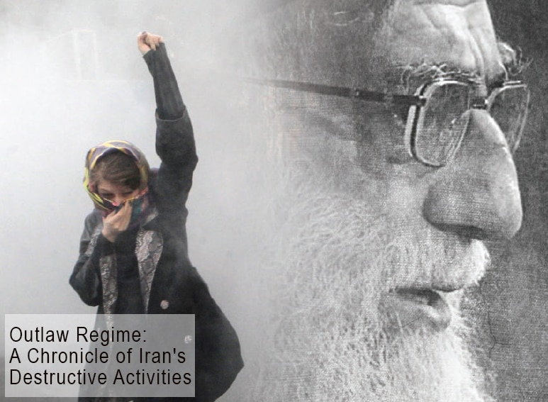 Cover of the publication with text: Outlaw Regime: A Chronicle of Iran's Destructive Activities