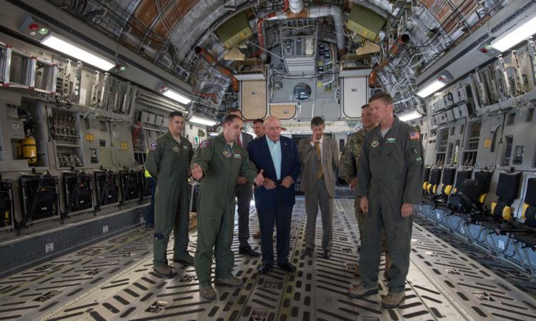 Ambassador Cornstein inside a C-17 aircraft